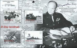 Gibraltar-2004-D-Day-60th Anniversary 4 Stamp Sheet Scott #979a