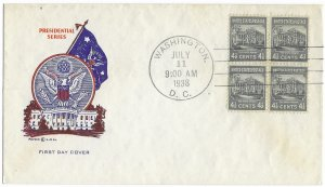 #809 Prexie FDC, 4-1/2c White House, Pavois cachet, block of 4