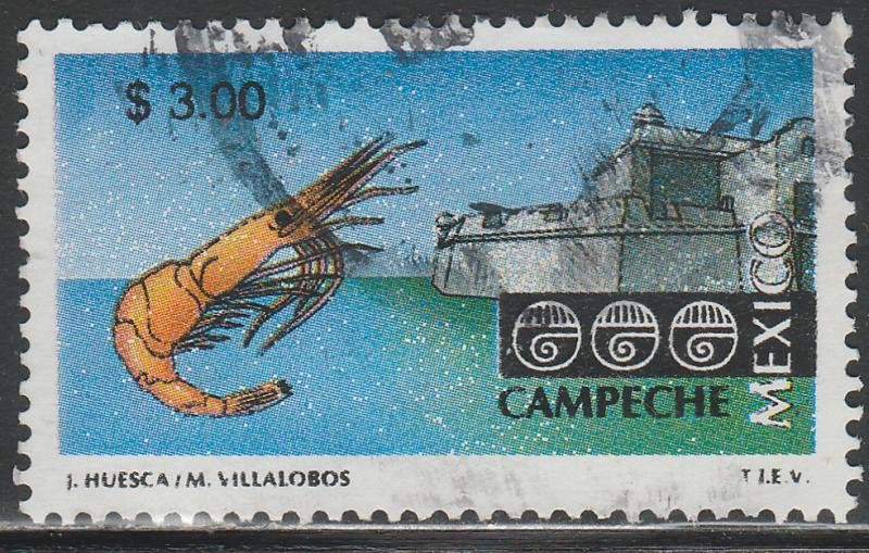 MEXICO 1967, $3.00 Tourism Campeche, shrimp, fortress. USED F-VF. (1499)