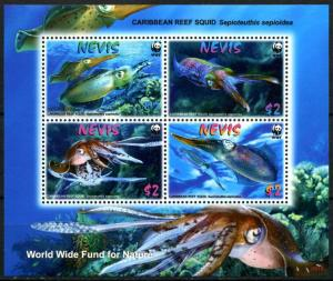 Nevis 2009 marine life fish Reef Squid WWF collective s/s MNH