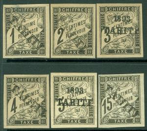 EDW1949SELL : TAHITI 1893 Scott #J1, 2, 4, 7, 16, 18 All appear as forged ovpts.