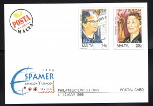 MALTA  Scott 886-887 Europa design on Espamer postcard 1996