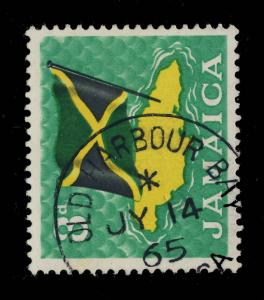 JAMAICA - 1965 -  OLD HARBOUR BAY / JAMAICA  CIRCLE DATE STAMP ON SG 221