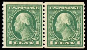 momen: US Stamps #443 Coil Pair Mint OG NH VF