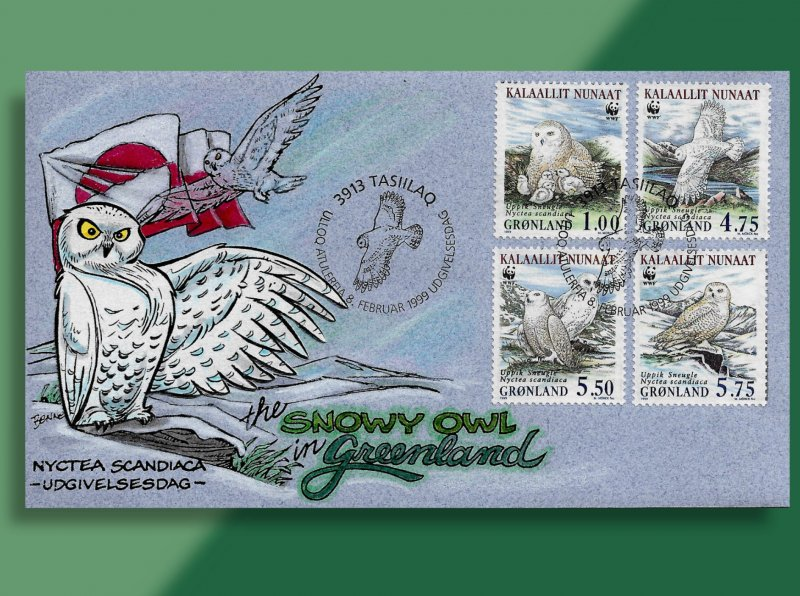 Snowy Owls in Greenland - Set of 4 WWF Singles on Handcolored FDC from 1999