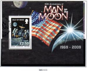Isle of Man Sc 1318 2009 Moon Landing stamp sheet used