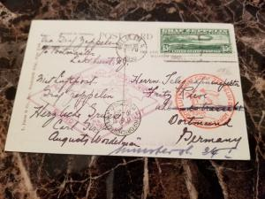 1930 NYC USA Graf Zeppelin postcard cover Around the World # C13 to Germany