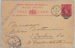 75309 - MALTA - Postal History - POSTAL STATIONERY CARD to GERMANY   1894