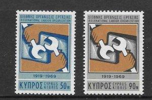 CYPRUS SG327/8 1969 50th ANNIV OF INTERNATIONAL LABOUR GROUP MNH