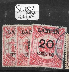 LABUAN (P0204B)  5C-20C SURCH ON $1.00 SG 75-7  VFU