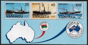 Vanuatu #379a MNH S/Sheet - AUSIPEX '84 - Boats - Ships