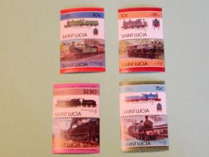 St. Lucia - 774-77, MNH Set. Locomotives (Pairs). SCV - $2.35
