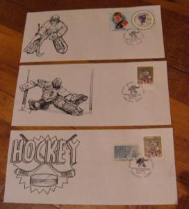 LOT#5 -Canada Special Hockey Stamp show cover-Qtt3 -Goaler + Puck --Value$60.00