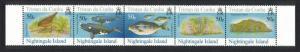 Tristan da Cunha Thrush Bird Whales Fish Nightingale Island 4th Series strip of