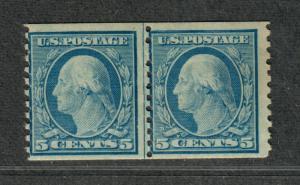 US Sc#496 M/NH/F, Coil Line Pair, Cv. $65