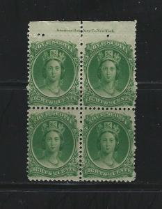 NOVA SCOTIA - #11 - 8 1/2c QUEEN VICTORIA TOP MARGIN INSCRIPTION BLOCK OF 4 MNH