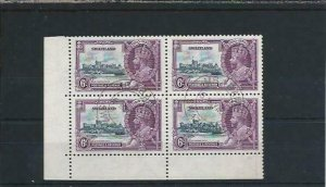 SWAZILAND 1935 SILVER JUBILEE 6d VALUE BLK OF FOUR EXTRA FLAGSTAFF FU FIRST DAY
