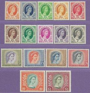 Rhodesia & Nyasaland sg 1-15 MNH 1954-6 1st Definitive Set of 16