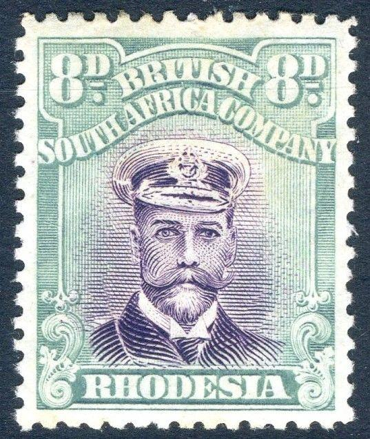RHODESIA-1922 8d Mauve & Pale Blue-Green Sg 296 LIGHTLY MOUNTED MINT V18565