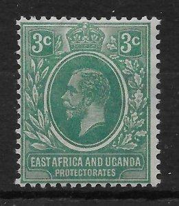 KENYA, UGANDA & TANGANYIKA SG66a 1921 3c BLUE-GREEN MTD MINT