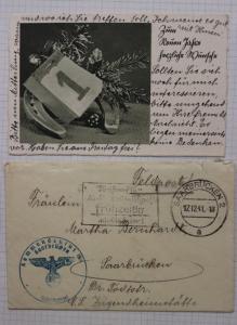 Germany Feldpost 1941 Saarbrucken censored slogan cancel greeting card contents