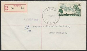 PAPUA NEW GUINEA 1962 2/6d Conference on Reg cover ex WASUA.................H182