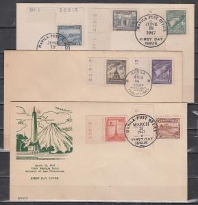 Philippines, Scott cat. 504-510. Definitive issue. Volcano. 3 First day covers.