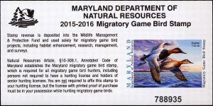 MARYLAND  #42  2015 STATE DUCK STAMP  CANVASBACKS by Jim Taylor
