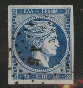 Greece Scott 27 Used 1868 blue on bluish Hermes Head  CV $24
