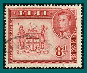 Fiji 1948 Arms, 8d used  #126,SG261c