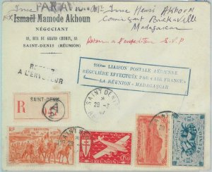 81151 - POSTAL HISTORY  FIRST Flight COVER: Reunion / Madagascar 1947 Muller 132
