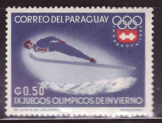 Paraguay Scott 787 MH* Winter Olympic ski stamp