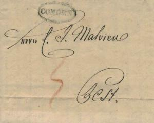 Hungary Comorn 1833 serifed sl in oval with ms 5 on Stampless Folded Letter t...