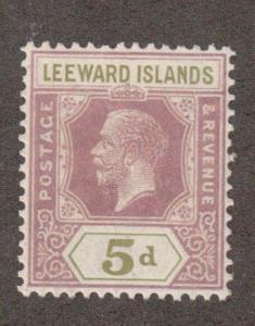 Leeward Islands 74 -  King George V. Five Pence.  MNH. OG.   #02 LEEW74