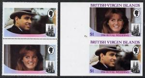 British Virgin Islands 1986 Royal Wedding $1 se-tenant pa...