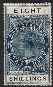 NEW ZEALAND 1880 Stamp Duty 8/- fine used..................................18373