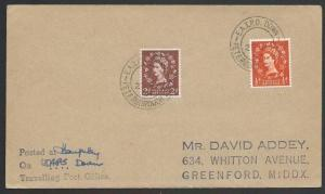 GB 1957 cover E.A.T.P.O. DOWN /PETERBOROUGH SECT railway cds..............50608
