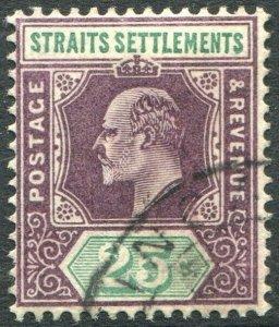 STRAITS SETTLEMENTS-1902 25c Dull Purple & Green Sg 116 FINE USED V50181