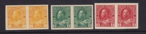 Canada Scott # 136-138 pairs XF OG never hinged nice color cv $ 400 ! see pic !