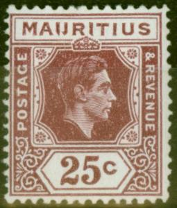 Mauritius 1938 25c Brown-Purple SG259ba IJ Flaw Fine & Fresh Lightly Mtd Mint