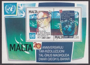 Malta # 709, Peaceful Use of the Sea Bed, Souvenir Sheet, Mint NH, 1/2 Cat..