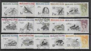 FALKLAND ISLANDS SG193/207 1960 BIRDS DEFINITIVE SET USED