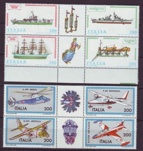 Z532 Jlstamps 1980 & 81 italy sets blk,s 4 mnh #1438a,1462a airplanes/ships
