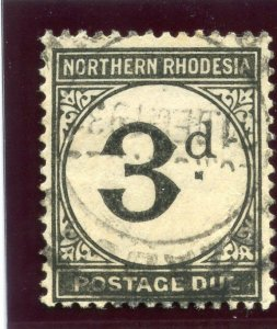 Northern Rhodesia 1929 KGV Postage Due 3d grey-black VFU. SG D3. Sc J3.
