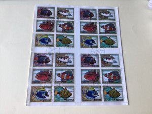 Manama  Ajman Fish cancelled Stamps Sheet Ref 55248