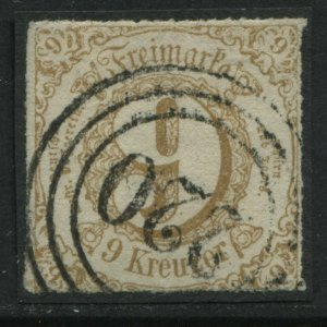 Thurn & Taxis Southern District 1865 9 kreuzer rouletted used
