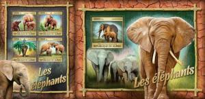 Guinea 2016 wild animals elephants  klb+s/s MNH
