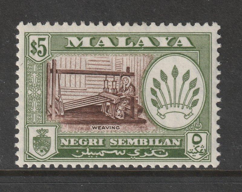 Negri Sembilan a LHM $5 perf 13 x 12.5 from 1957