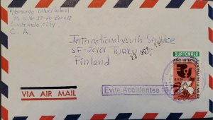A) 1976, GUATEMALA, CIRCULET COVER TO FINLAND, AERIAL, SLOGAN CANCELATION AVOID