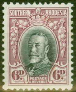 Southern Rhodesia 1933 6d Black & Magenta SG20a P.11.5 Fine Lightly Mtd Mint